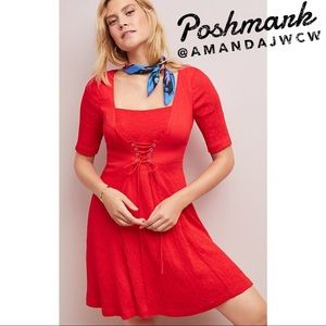 Anthropologie Maeve Red Corset Dress